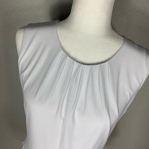 Calvin Klein Tops - Calvin Klein NWT White Pleat Neck Sleevless Shell